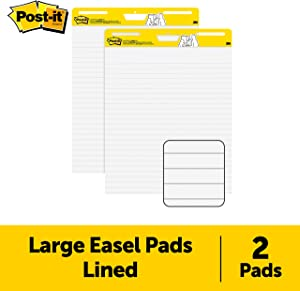 Post-it Super Sticky Easel Pad, 25 x 30 Inches, 30 Sheets/Pad, 2 Pads, Lined Premium Self Stick Flip Chart Paper, Teacher Anchor Chart Paper (561WL) (561WL VAD 2PK)