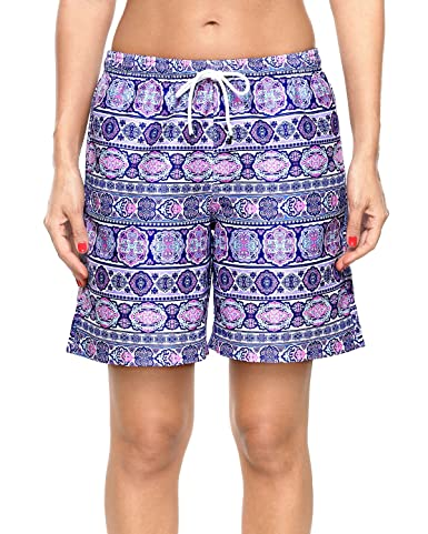 Sociala Women's Solid Board Shorts Swim Trunks Beach Boardshorts Swimwear by Sociala