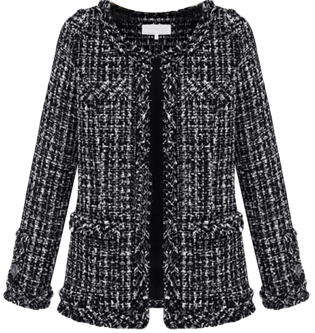 YUNY Womens Fashion Tweed Wool-Blend Short Coat black M