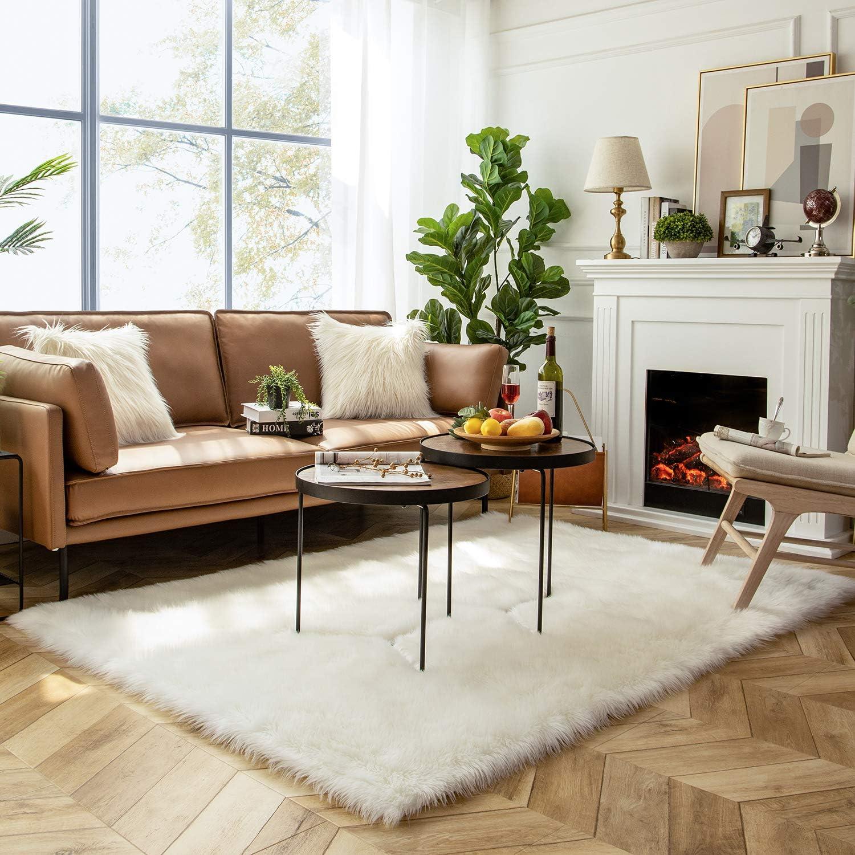 Ashler Soft Faux Sheepskin Fur Chair Couch Cover Area Rug for Bedroom Floor Sofa Living Room White Rectangle 5 x 7 Feet