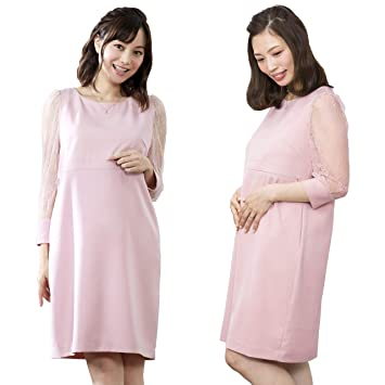a80ab33c72301 Sweet Mommy マタニティ 授乳服 ワンピース レーシースリーブ 袖タイプ選べる カフススリーブ9分袖