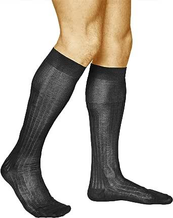 vitsocks Calcetines Altos 100 ALGODÓN Finos Hombre (2 PARES) Ejecutivos Elegantes: Amazon.es: Ropa y accesorios