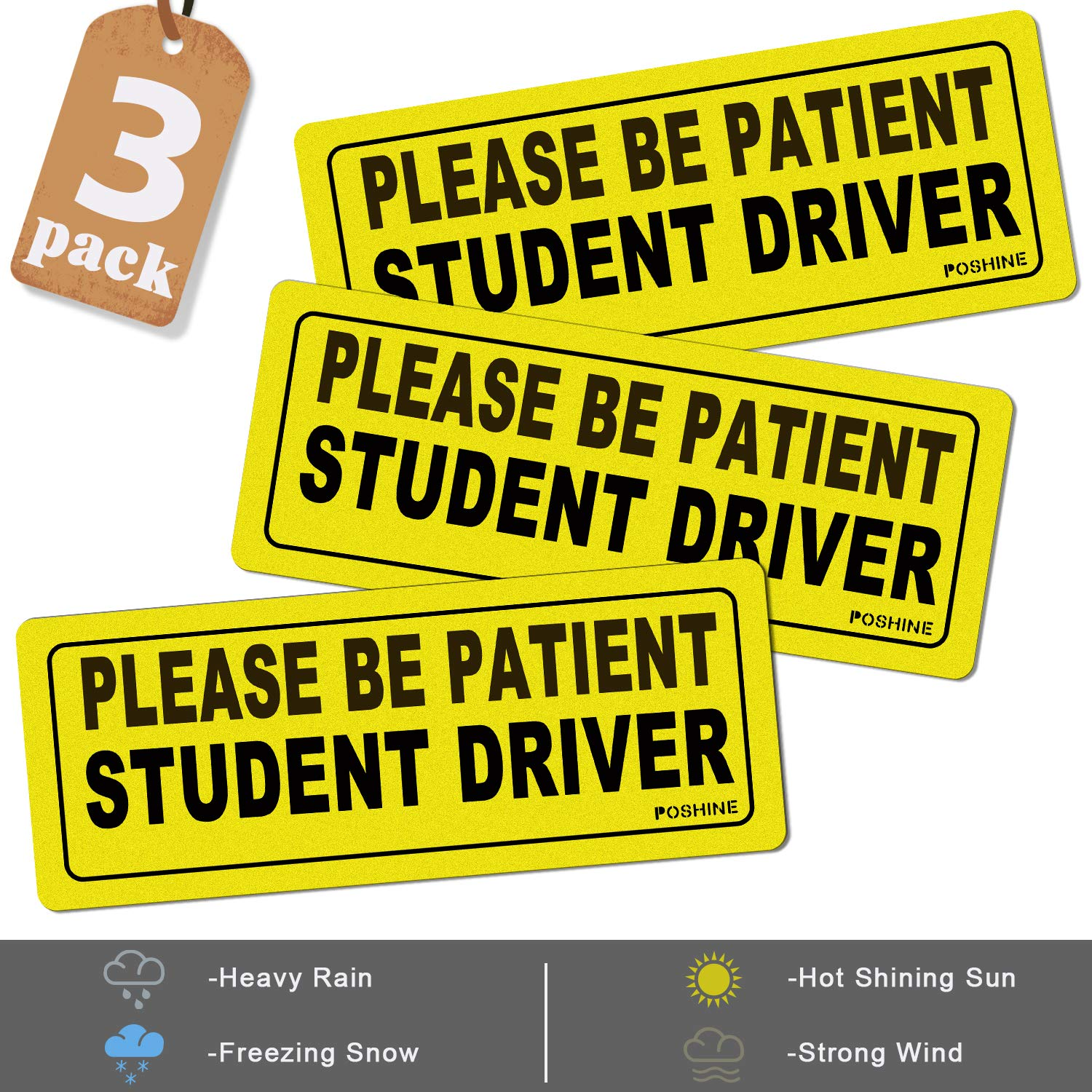 Set of 3 POSHINE Student Driver Magnet Car Signs Reflective Vehicle Car Sign Bumper Sticker for New Driver