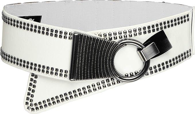 BlackButterfly Wide Elastic Stretch Retro Metal Interlock Buckle Belt