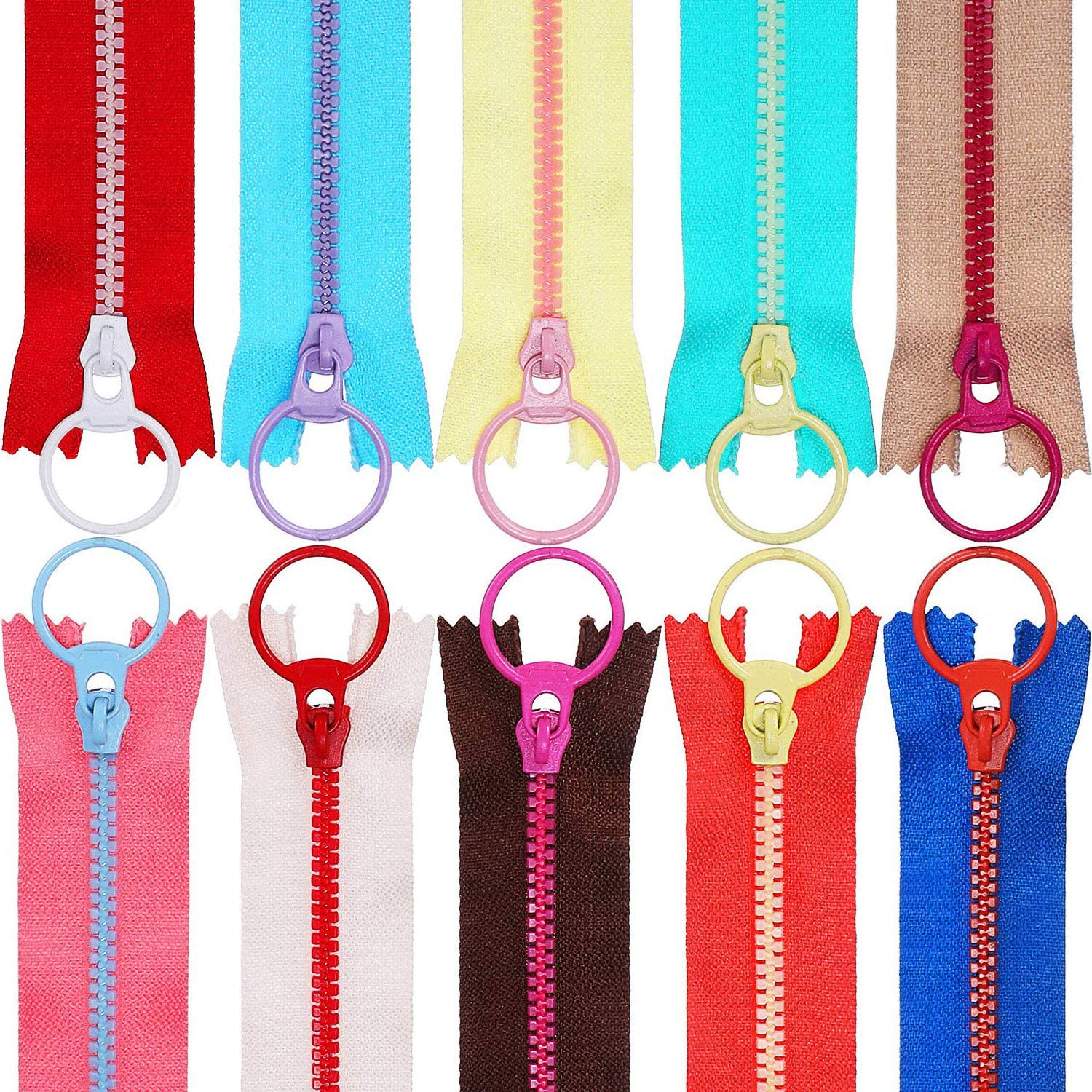 20inch WKXFJJWZC 10pcs Mix Color (50cm) 20 Openings 5# Resin Zipper Pull Ring Zipper Head DIY Sewing Handbags Clothing Accessories