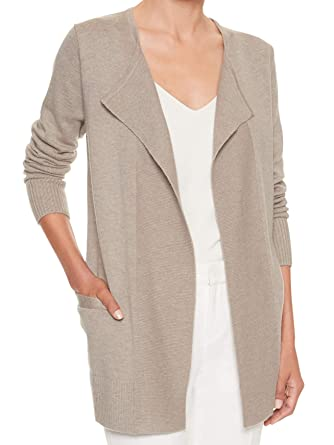 8681ae86b4e Banana Republic Womens Ribbed Placket Open Front Cardigan Sweater Mushroom  Beige (Large)