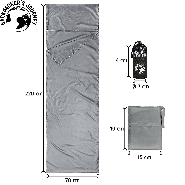Backpacker S Journey ultrakleiner y ultraligera (155G) Viaje Saco de dormir con 2 Pack variantes, cabaña Saco de dormir ligero, fino, ...