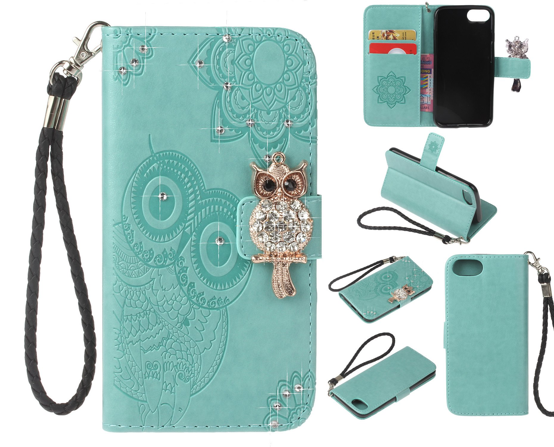 Strap Diamond Wallet Case for iPhone 7/iPhone 8 4.7 Inch,Aoucase Luxury 3D Owl Bling Gems Magnetic Cute Mandala Print PU Leather Soft TPU Stand Flip Case with Black Dual-use Pen - Green by Aoucase
