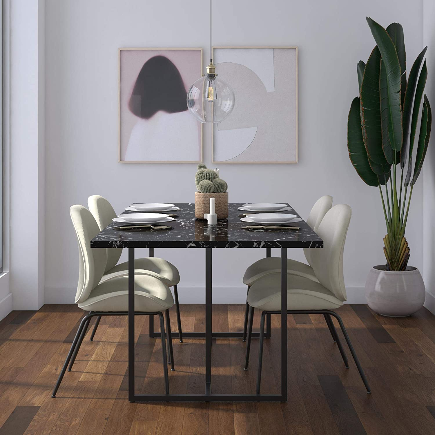 Cosmoliving Edith Rectangular Dining Table Black Faux Marble Black Base Amazon Ca Home Kitchen