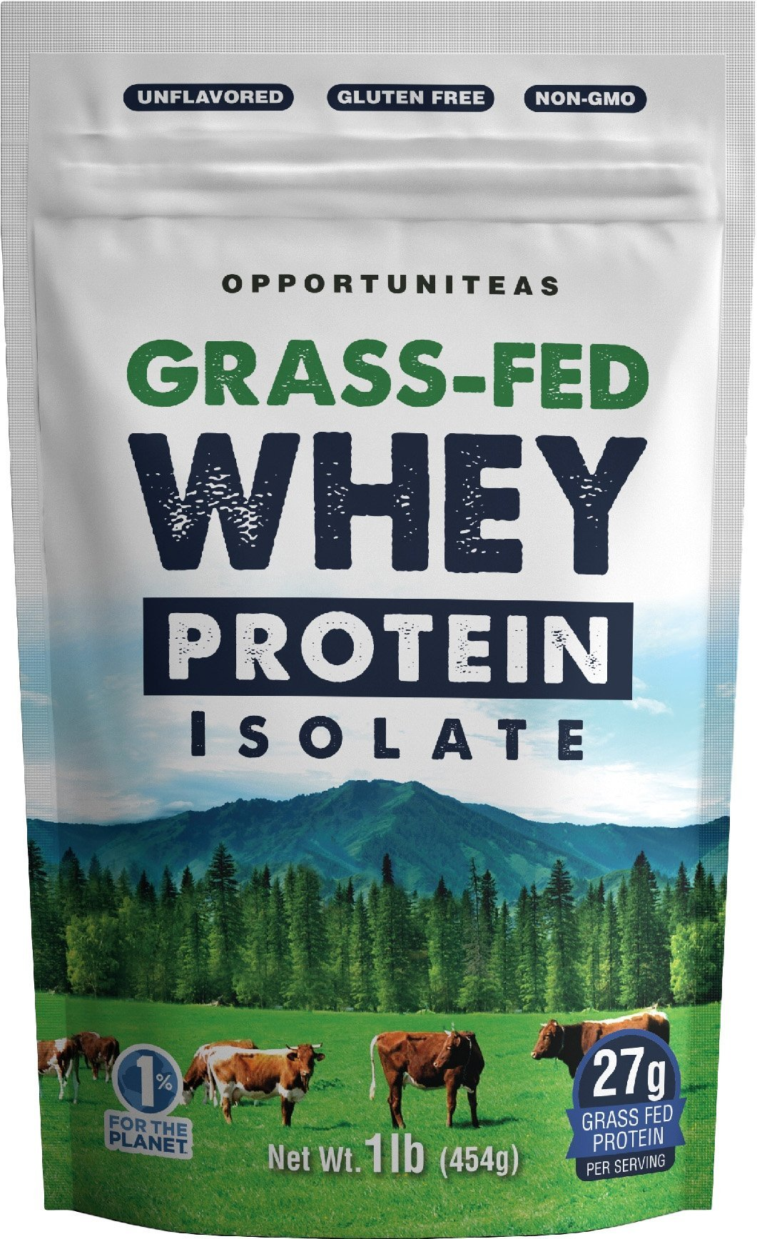 Grass Fed Whey Protein Powder Isolate - Unflavored + Cold Processed + Undenatured - Pure Wisconsin Grass-Fed Protein for Shake, Smoothie, Drink, or Food - Natural + Non GMO + No Gluten - 1 Pound by Opportuniteas