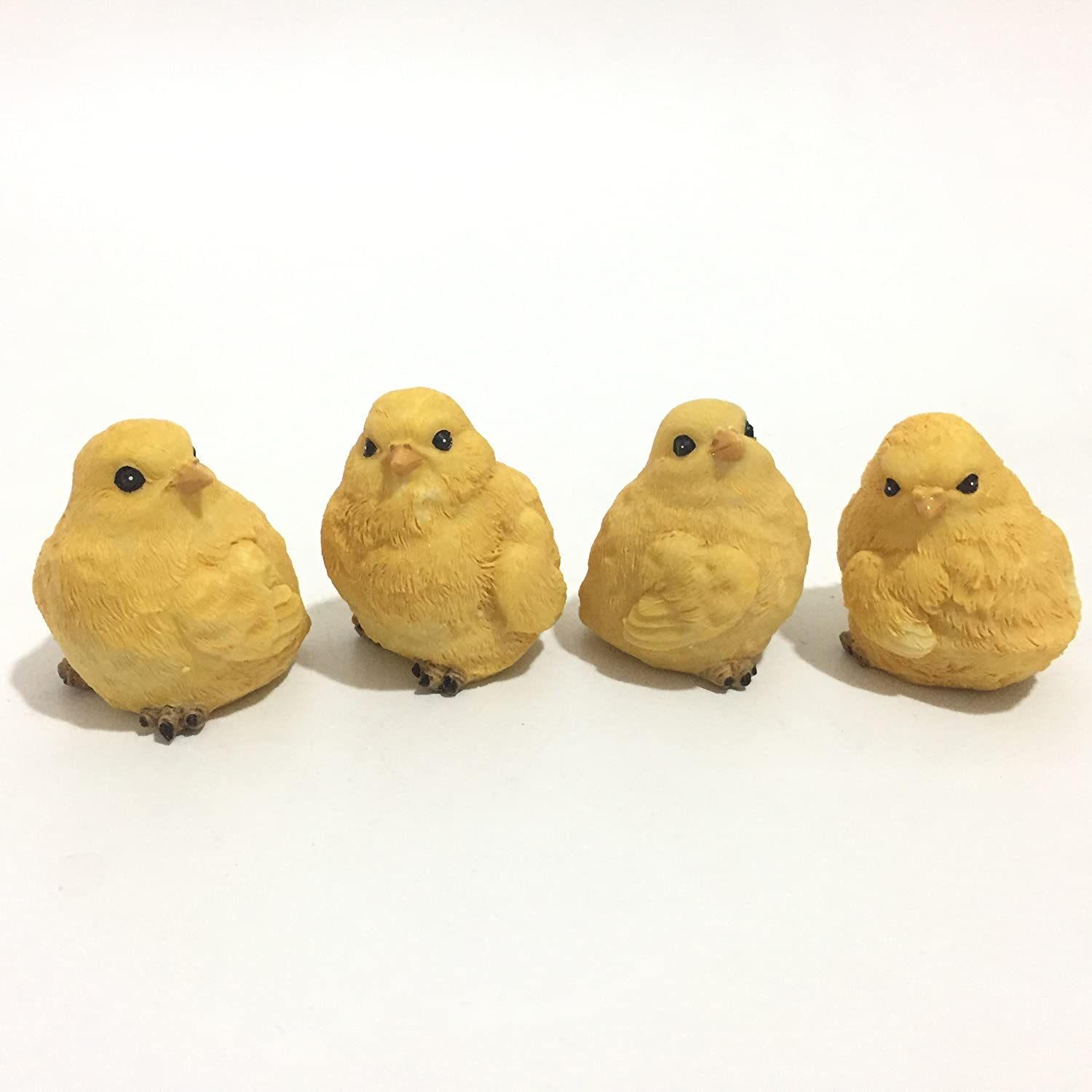 Posee Outdoor Garden Decoration Little Yellow Chicks Chicken Statues Lawn Ornament 2""