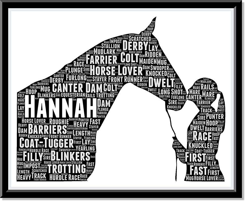 Gift for Horse Lover, Typography and Word Art Personalized Prints Horse Birthday gifts for Girls and Riders…