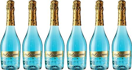 Vino espumoso de color azul, brillante y con finas burbujas que se desprenden lentamente,En boca es
