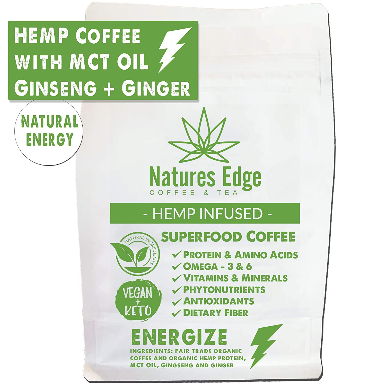 Natures Edge Energize Blend - Medium Roast Hemp Coffee Ground with MCT Oil, Ginseng, Ginger, Antioxidants, Minerals, Fiber and Heart-Healthy Unsaturated Fats - 12oz