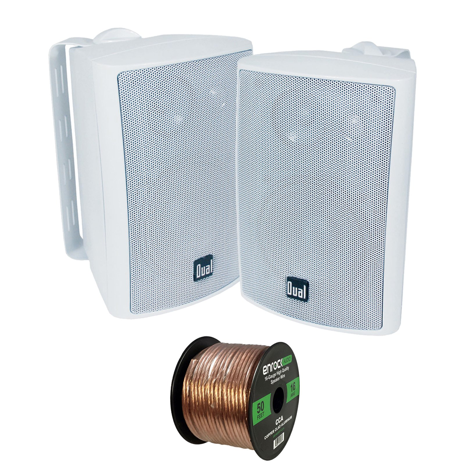2X Dual Electronics LU47PW 4 Inch 100-Watt 3-Way Indoor/Outdoor High Performance Bookshelf Studio Monitor White Speakers w/Swivel Brackets, Enrock 16-G 50 Ft Audio Speaker Wire