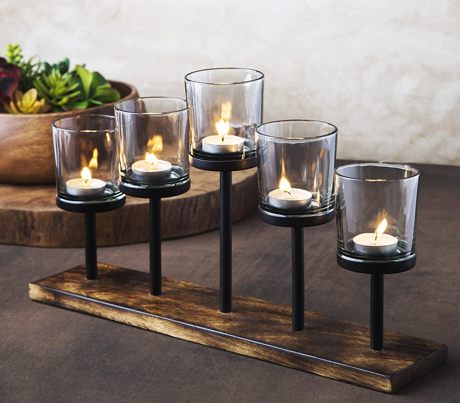 Le Raze Elegant Decorative Votive Candle Holder Centerpiece 5 Glass Votive Cups On Wood Base Tray For Wedding Decoration Dining Table Amazon Ca Home Kitchen