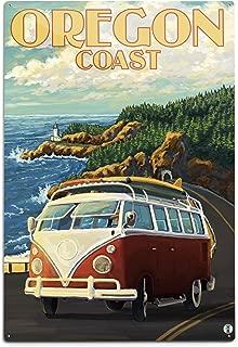 product image for Lantern Press Camper Van Cruising The Oregon Coast (12x18 Aluminum Wall Sign, Wall Decor Ready to Hang)