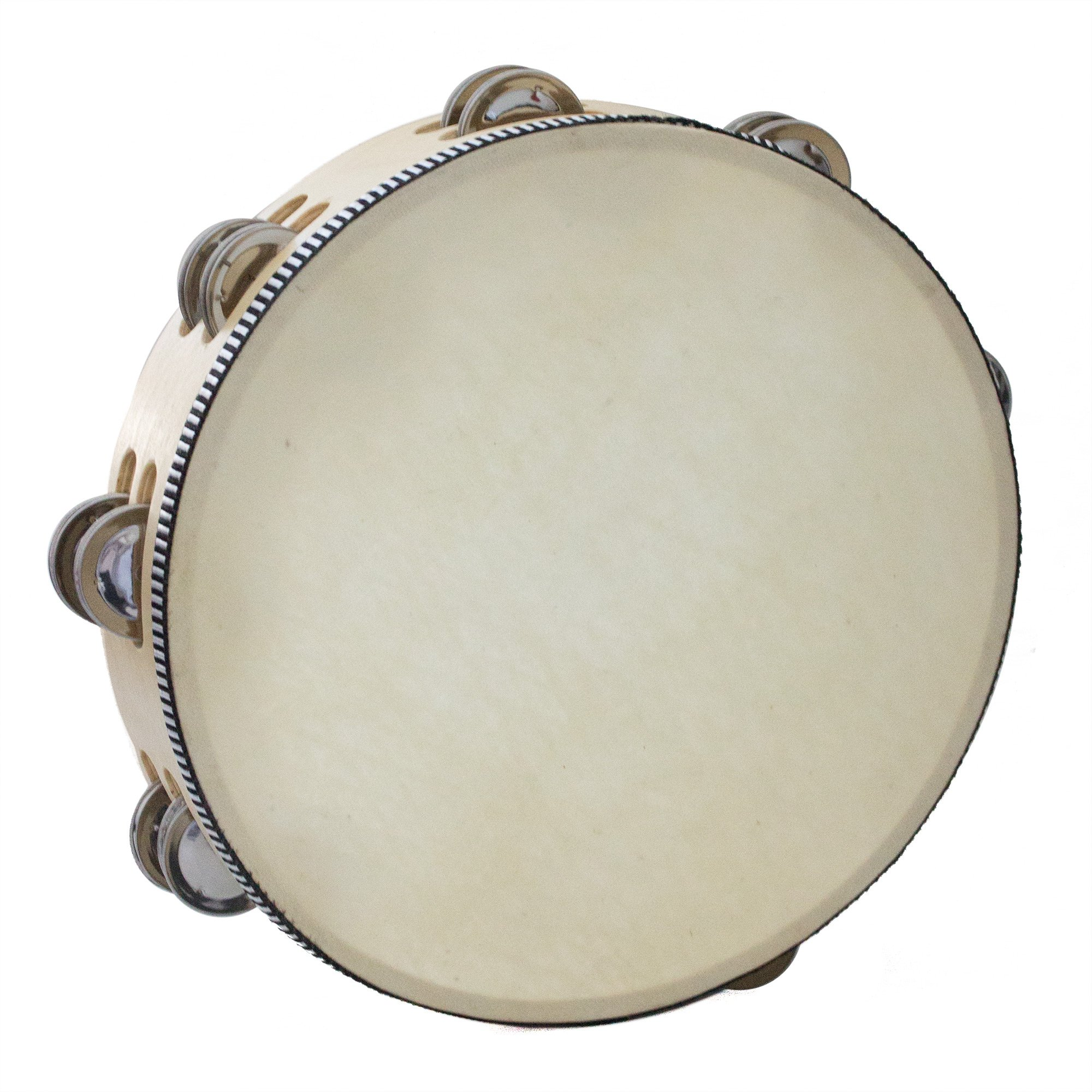 Kalos by Cecilio KP_TMW10-2C 10-Inch Wooden Tambourine with 16 Pairs of Jingles by Cecilio