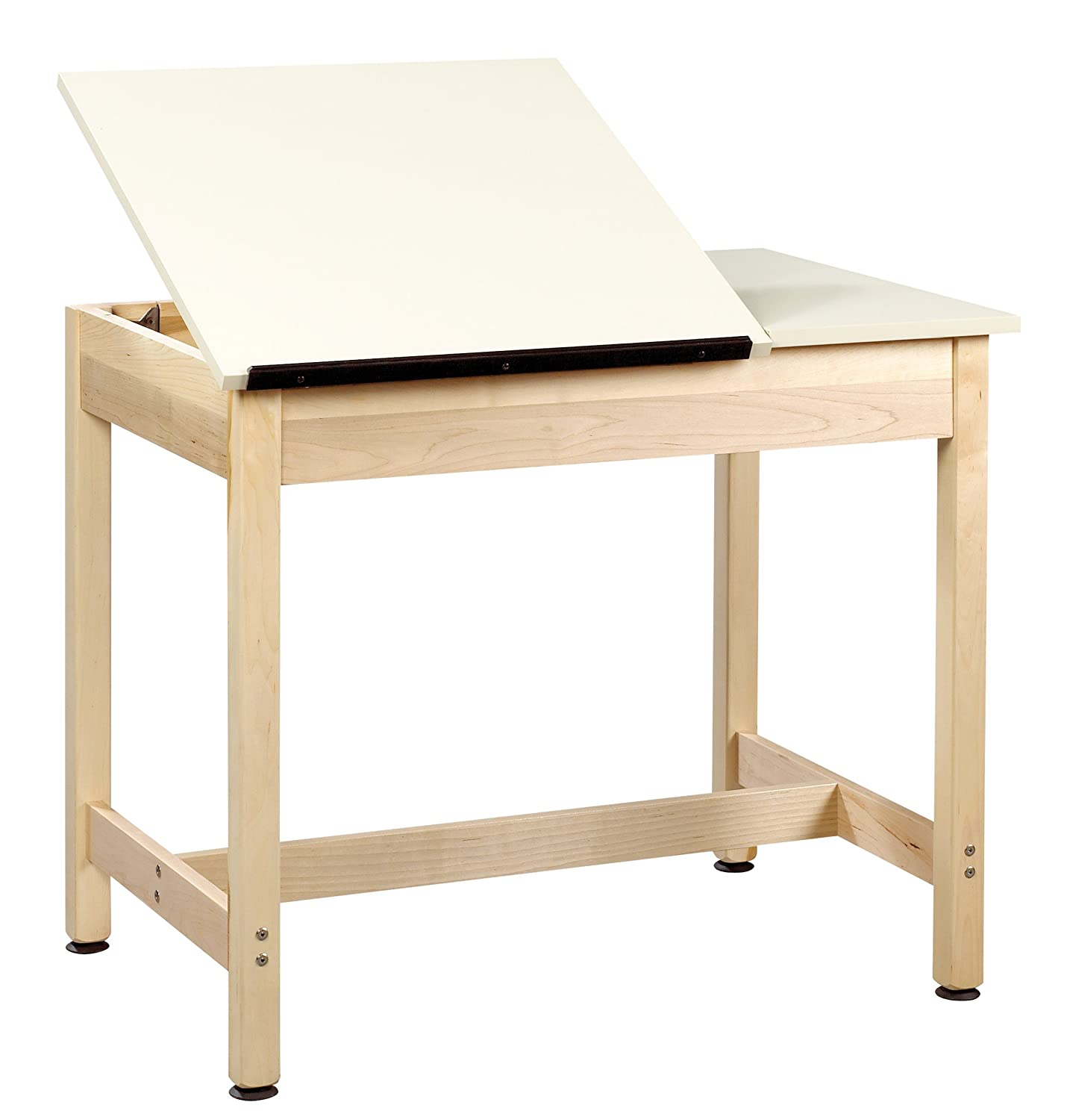 Diversified Woodcrafts DT-9SA30 UV Finish Solid Maple Wood Art-Drafting Table with 1 Piece Top - Plastic Laminate