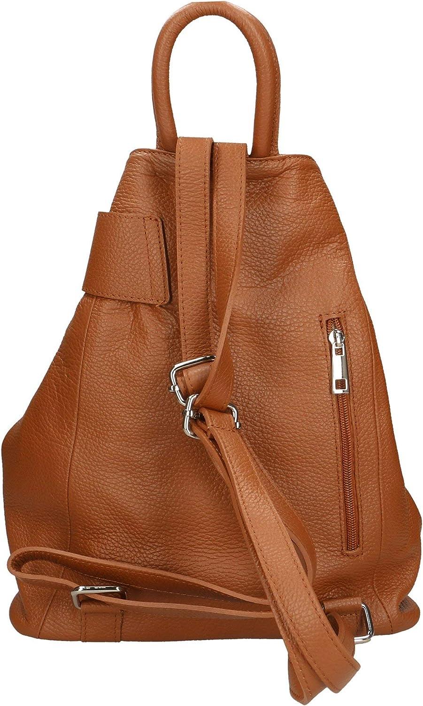 Roberta Rossi Ivonne Zaino da donna con fascia anteriore fashion casual moda Backpack Vera pelle made in Italy 35x28x12 cm 0,75 kg RR34ST030CGLNAT Tan