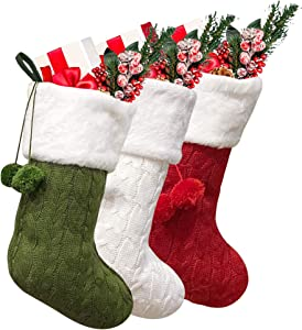 """Dehinyen Christmas Stockings, 3 Pack Stockings Christmas 16"""" Rustic Christmas Stockings Xmas Stockings Family Large Cable Knit Christmas Stockings with Faux Fur Cuff for Décor - Burgundy, Green, Ivory"""