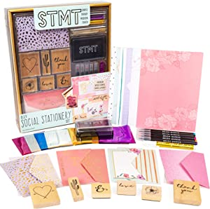 STMT Social Stationery by Horizon Group USA, 6 Wooden Stamps, Stamp Pad, Cards, Envelopes, Brush Markers, Hand Lettering, Bullet Journaling, Scrapbooking