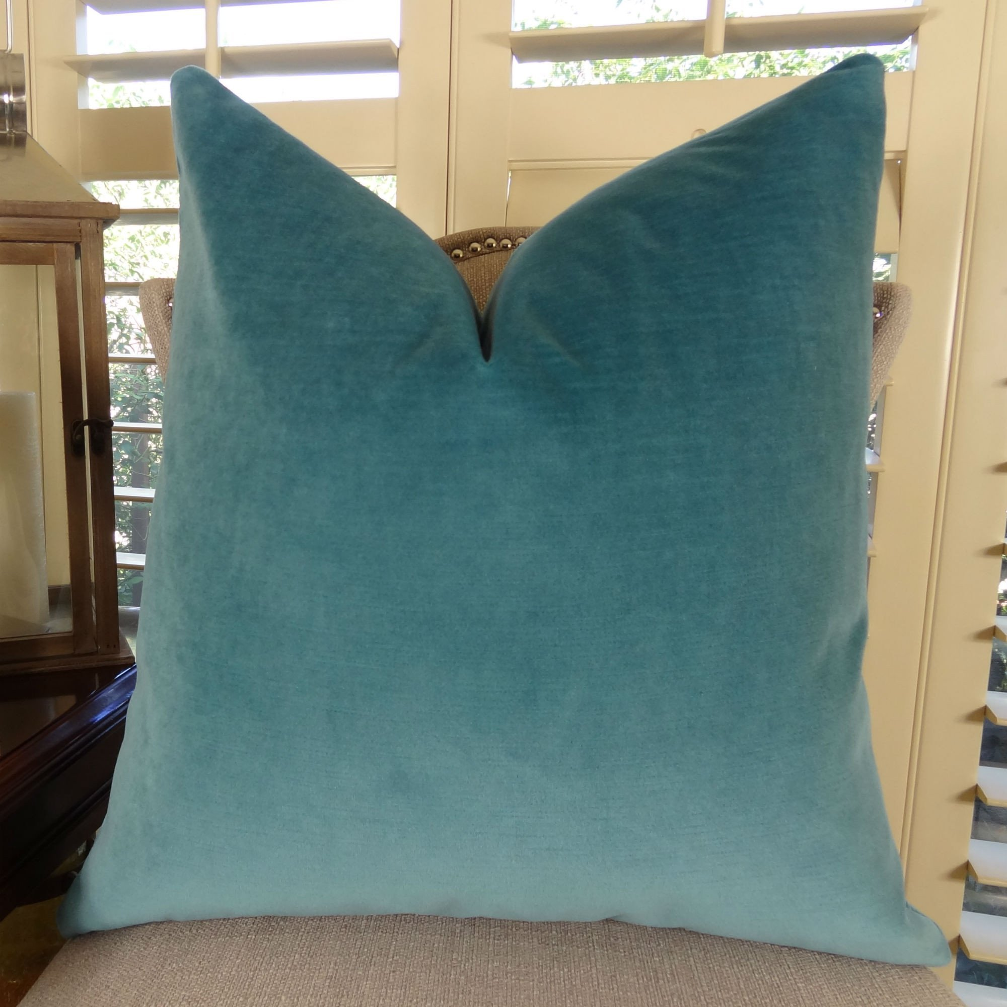 Thomas Collection handmade decorative pillows, luxury throw pillows, Teal Velvet Luxury Throw Pillow, Designer Double Sided Couch Pillow, COVER ONLY, NO INSERT, Made in America, 11381 by Thomas Collection