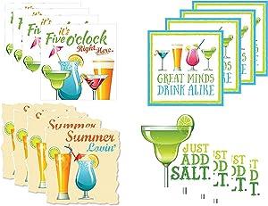 Fun Tropical Summer Drink Cocktail/Beverage Napkins - 4 Pack, Total of 64 Napkins