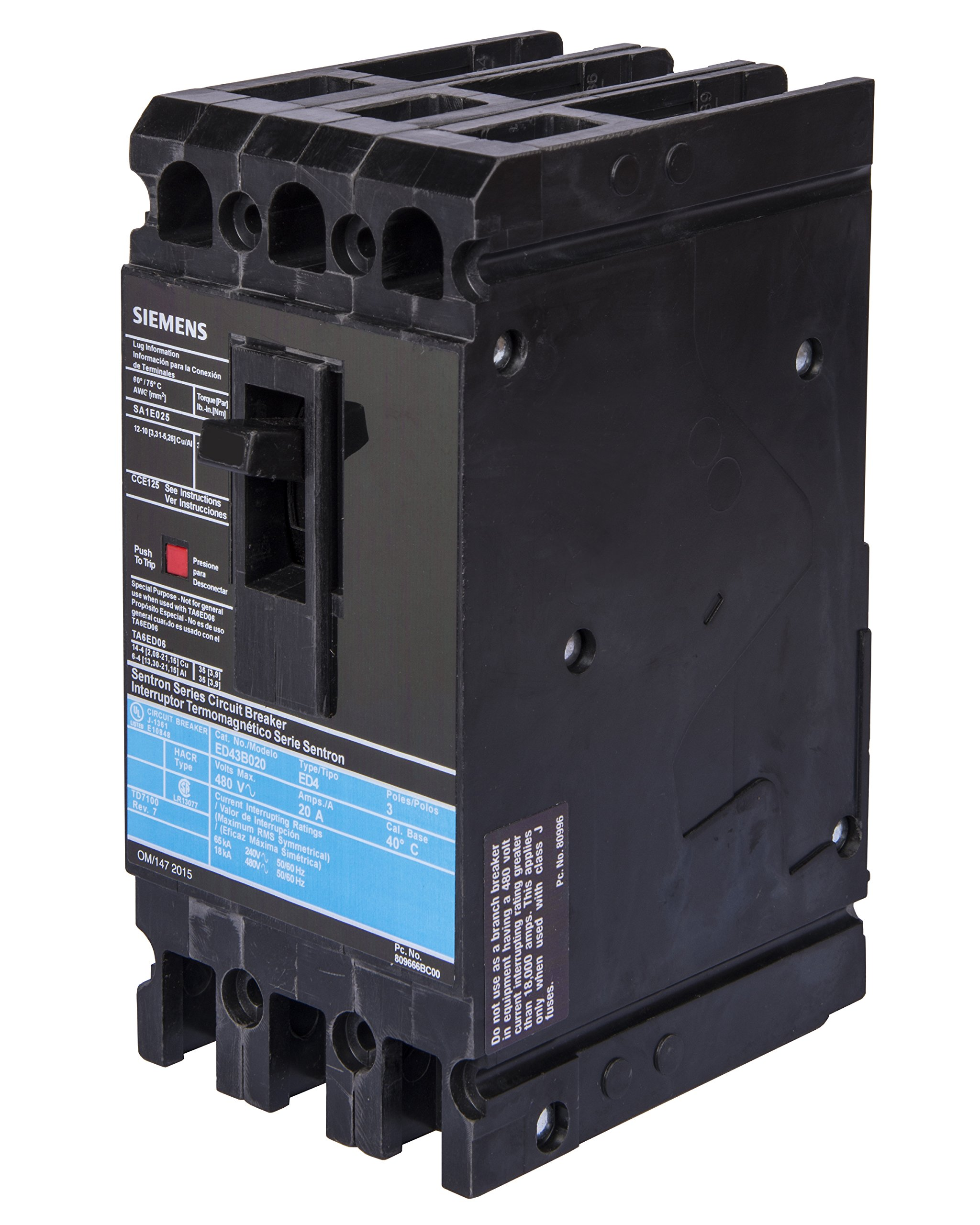 Siemens HED43B020 Circuit Breaker, Type HED4, 20 Amp, 3 Pole