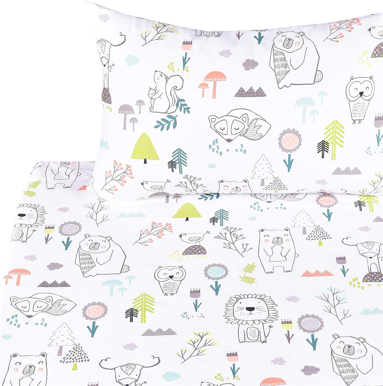 Twin, 11 100/% Cotton Flat Sheet Pillowcase Bedding Set Fitted Sheet J-pinno Animals Squirrel Fox Owl Bear Lion Twin Sheet Set Bedroom Decoration Gift