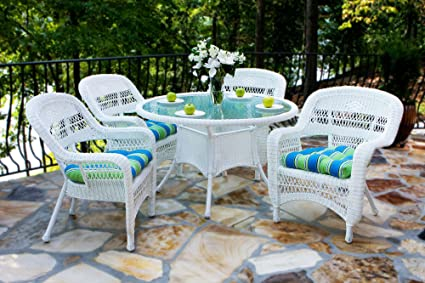 Genial Portside 5 Piece Outdoor Wicker Dining Set, Coastal White Wicker, Custom  Portside Cushion