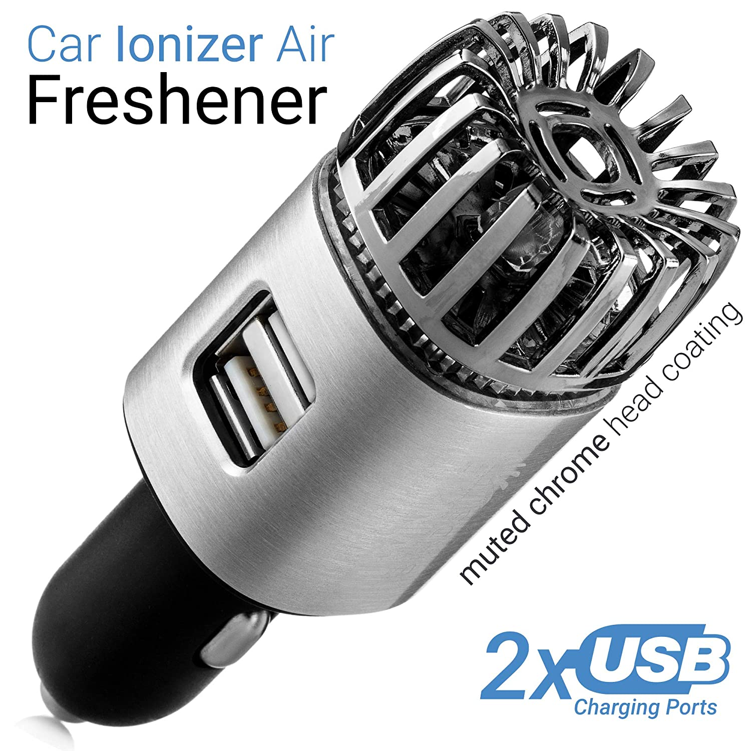 TwinkleBirds Car Air Purifier Ionizer - 12V Plug-in Car Air Freshener Ionic Deodorizer with 2.1 Amp Dual USB Charger - Smoke Smell, Pet and Food Odors, Allergens Eliminator for Car (Matte Silver)