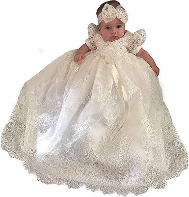 Vintage White Ivory Baby Girls Christening Gown Lace Short Sleeve Baptism Dress