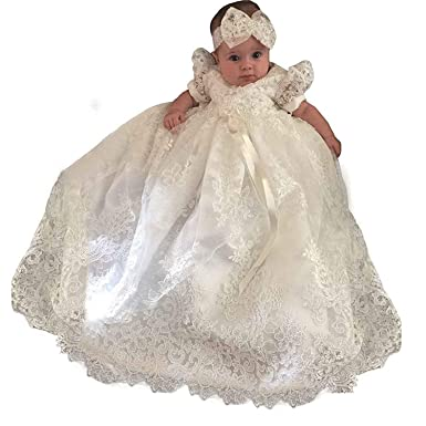 caf17fd55 Amazon.com: Vintage White Ivory Baby Girls Short Sleeve Christening Gown  Lace Baptism Dress: Clothing