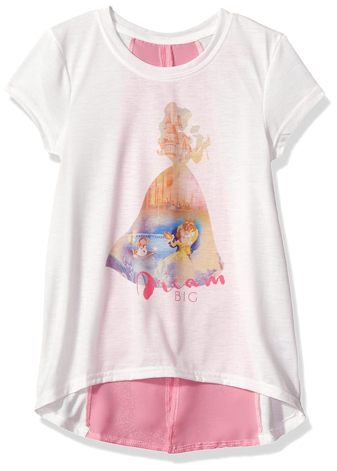 657a9fdc5 Amazon.com: Disney Girls' Beauty and the Beast Belle Chiffon Back T-Shirt:  Clothing