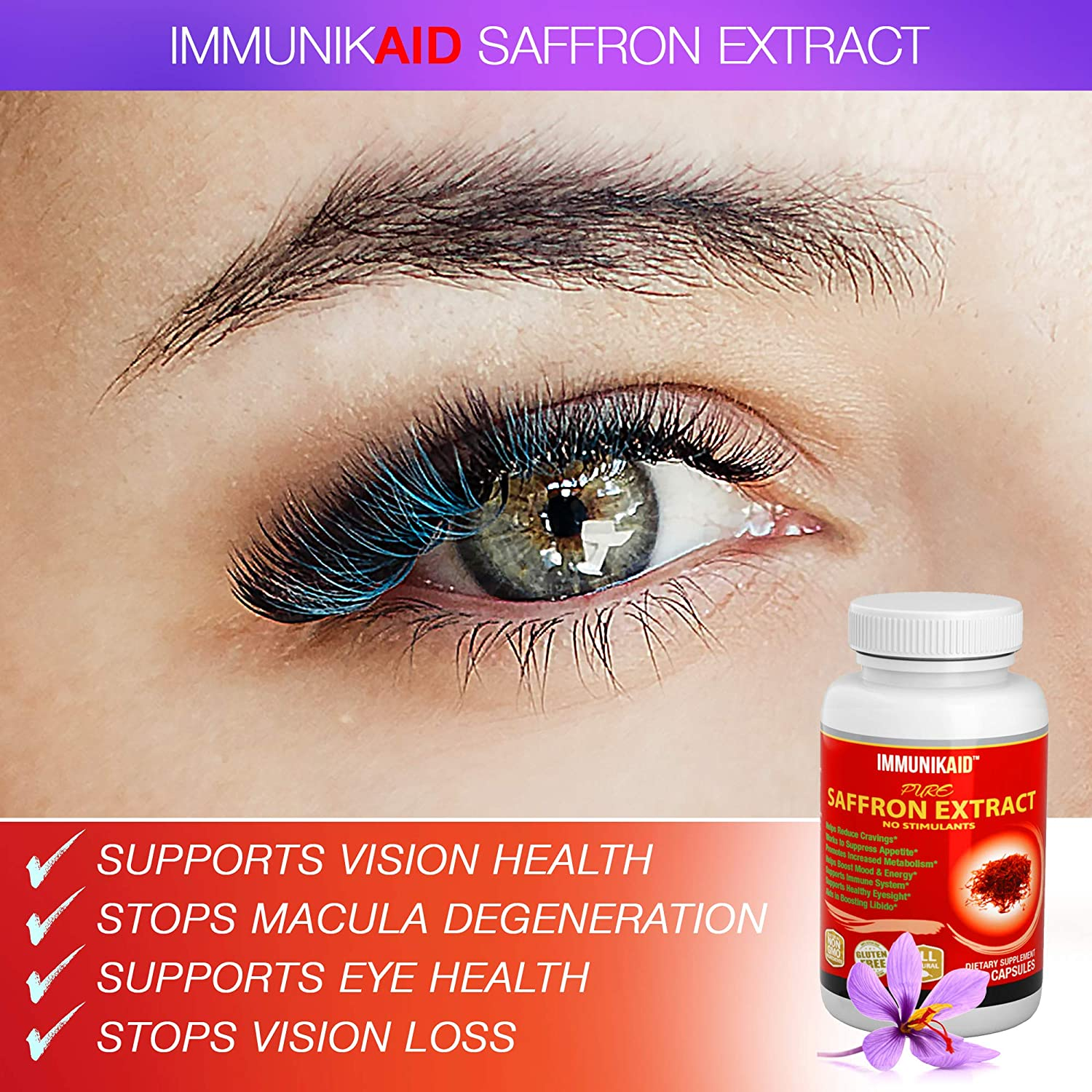IMMUNIK Saffron Supplement Appetite Suppressant-180 Pure Natural Golden Saffron Extract Capsules-Healthy Weight Loss-Hunger Suppression-Metabolism Booster Anti-Anxiety & Eye Support for Women & Men