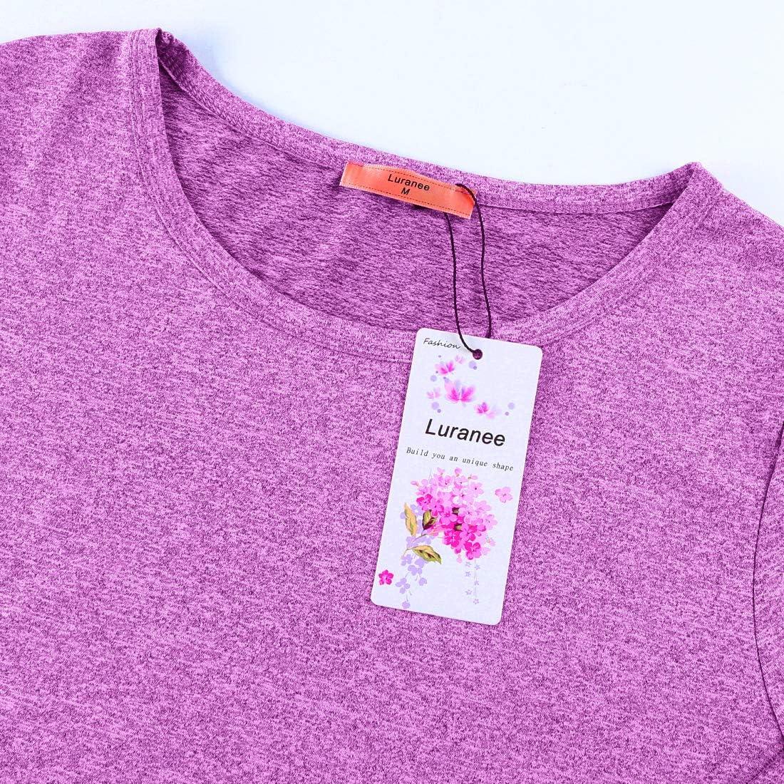 Luranee Womens Yoga Running Tops Long Sleeve Crew Neck Casual Loose Gym Shirts