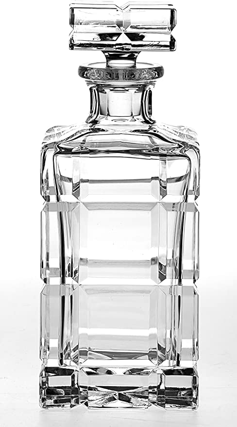 Amazon Com Barski Hand Cut Mouth Blown Crystal Whiskey Beautiful Square Decanter 30 Oz Made In Europe Liquor Decanters