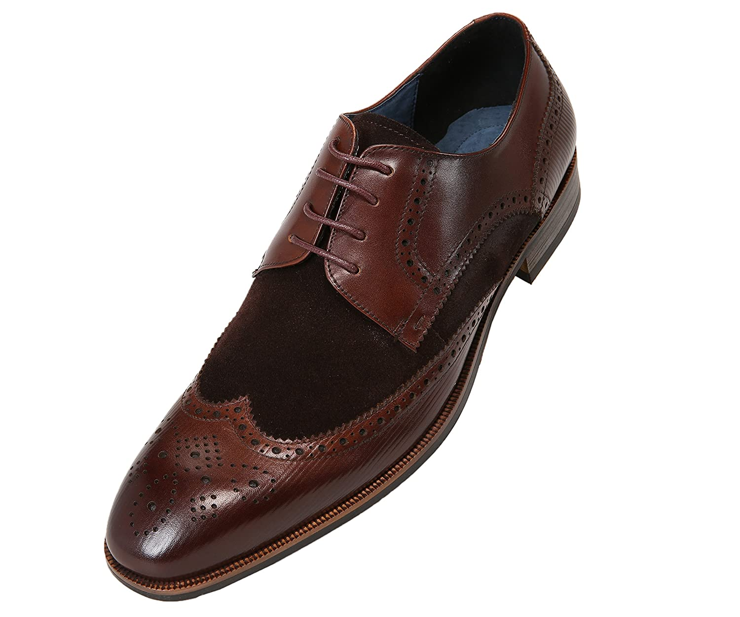 802efbd98443 BEAUTIFUL DESIGN: Style AG1034 - Rich brushed calf leather is accented with  classic waxy suede on this mens wingtip oxford dress shoe