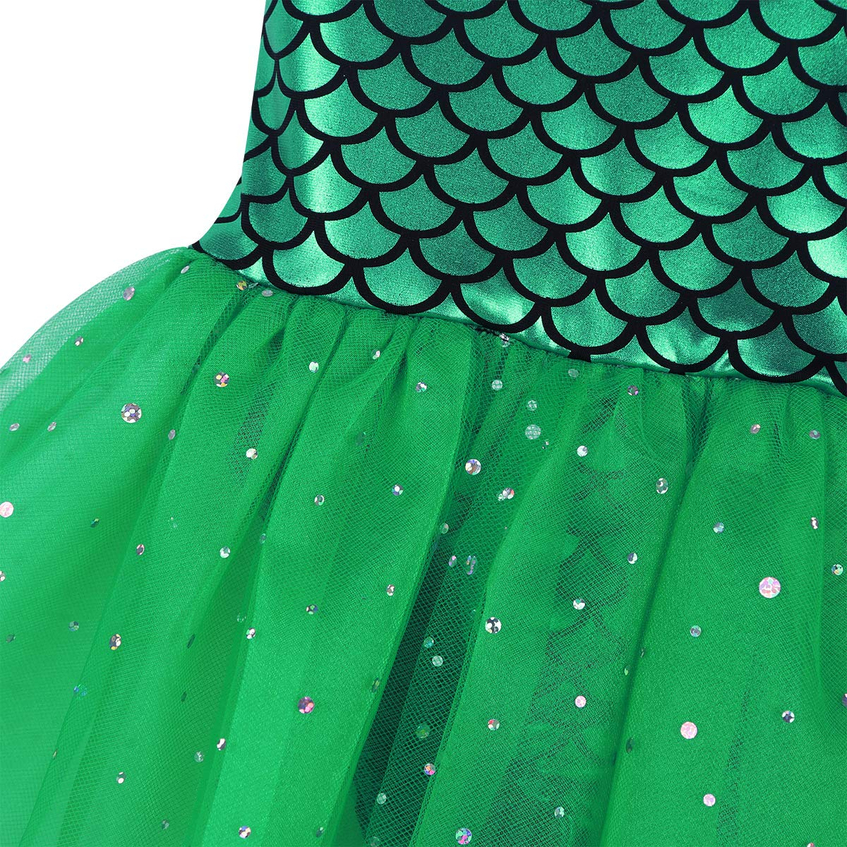 Freebily Girl Mermaid Camisole Leotard Fish Scales Ballet Dance Gymnastics Tutu Skirted Dress Fancy Party Dancing Costumes