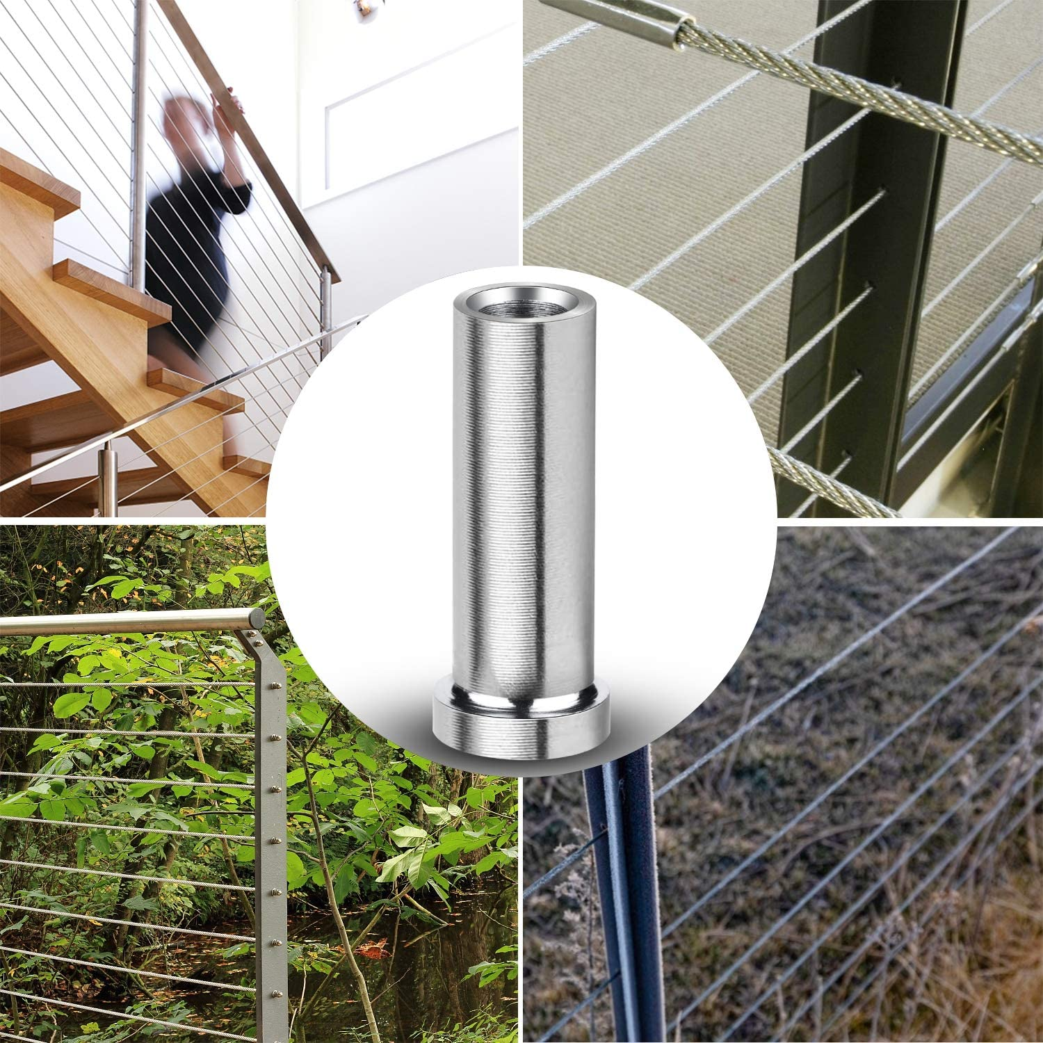 100 Pack T316 Stainless Steel Protector Sleeves for 1//8 Wire Rope Cable Railing DIY Balustrade T316 Marine Grade Come with A Free Drill Bit
