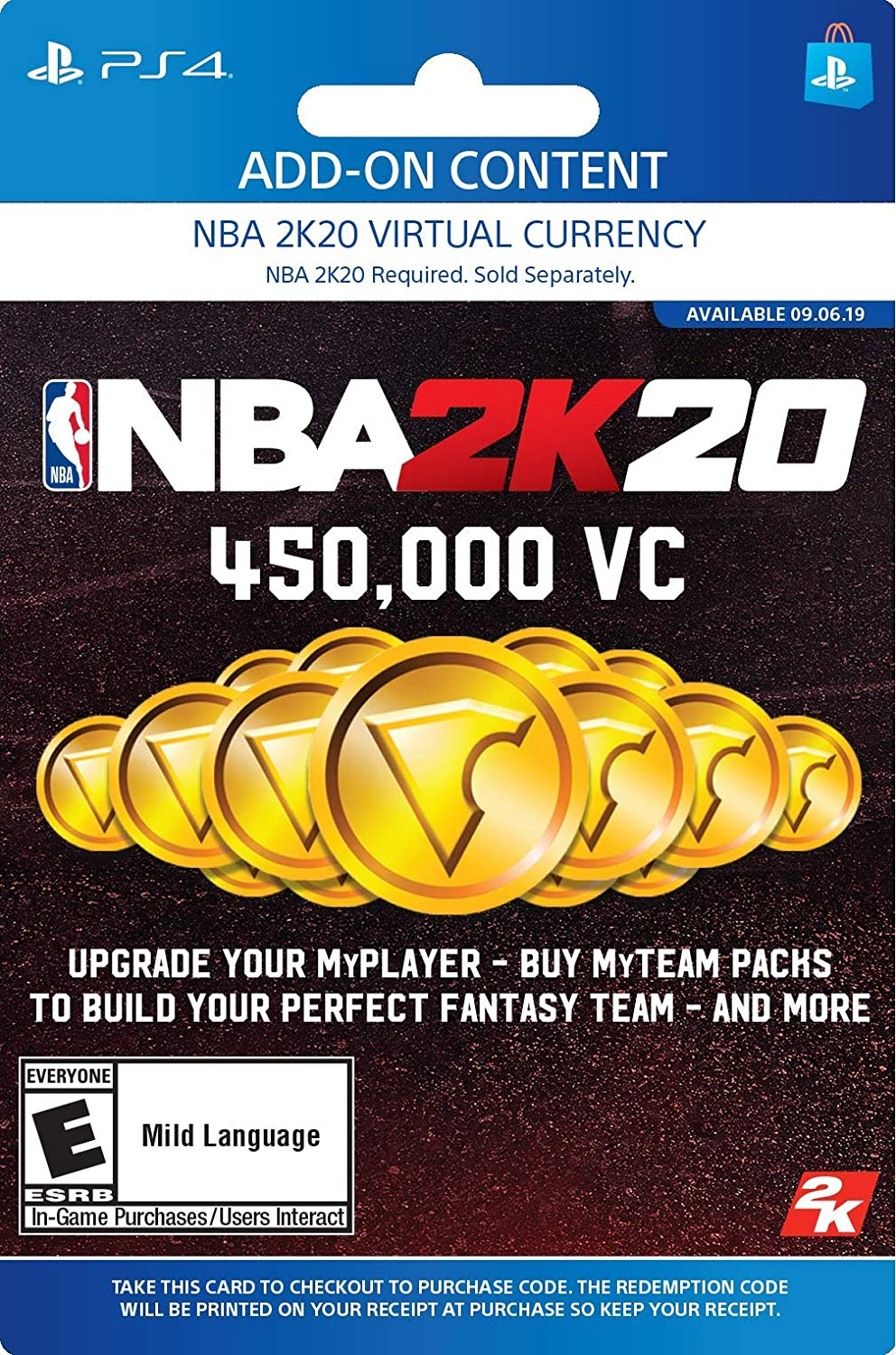 Amazon.com: NBA 2K20: 450000 VC Pack - [PS4 Digital Code ...