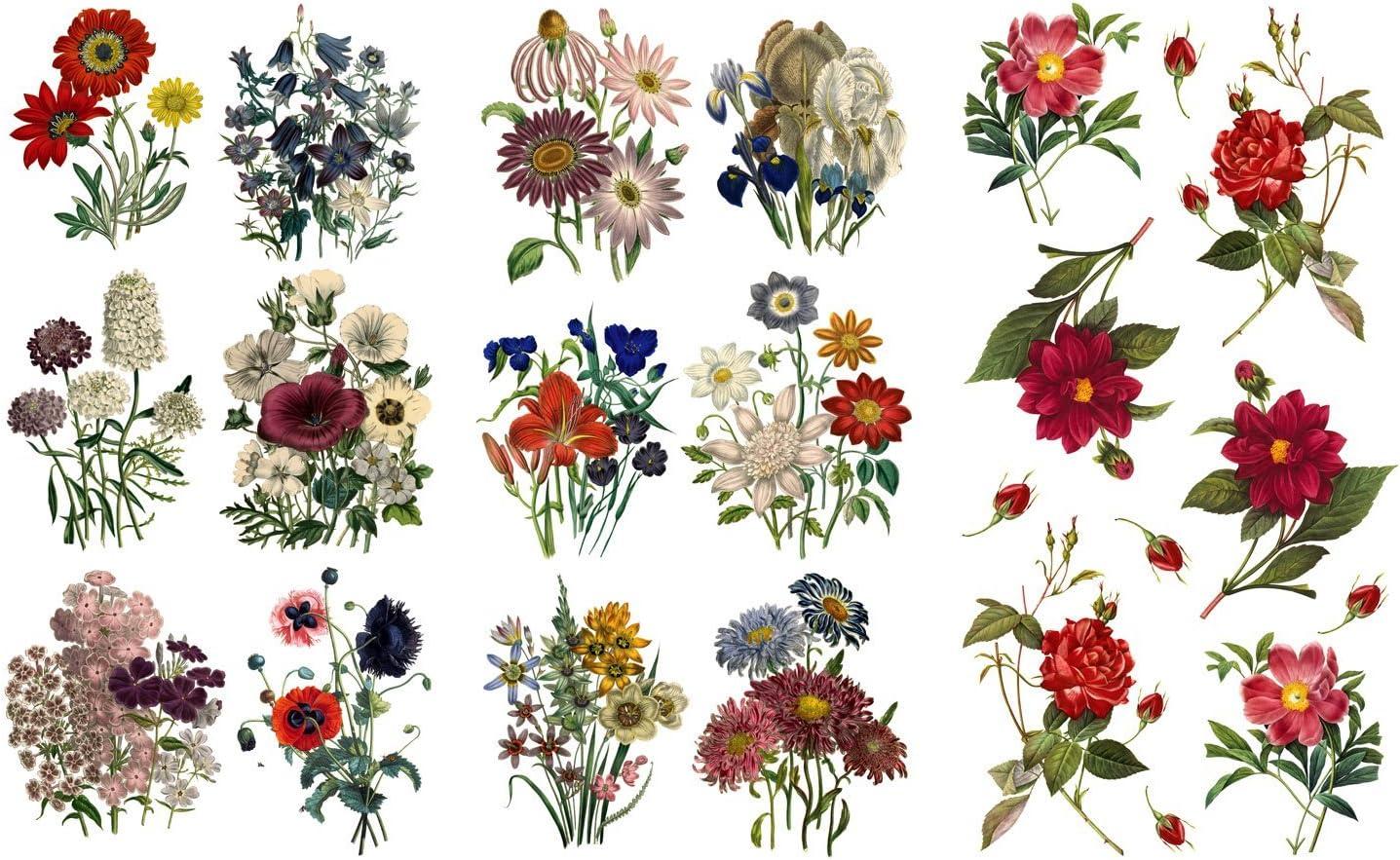 "Decoupage Paper Pack (12 Sheets A4 / 8""x11"") Flowers Wildflowers FLONZ Vintage Ephemera"