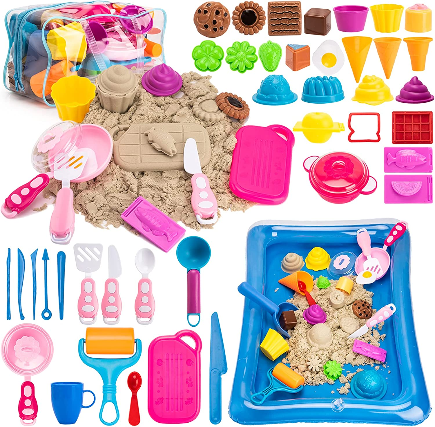 Storage Bag Cookware Molds for Boys Girls Gifts Cooking Serving Tools Inflatable Tray 3lbs All-Natural Scented Sensory Sand Play Sand for Kids Sandbox 44Pcs Cake Ice Cream Sand Toys