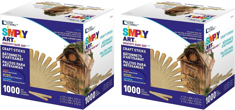 3 Pack, Total 3000 Loew Cornell 1021254 Woodsies Craft Sticks 1000-Piece