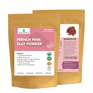 French Pink Clay Powder, Vegan Food Grade, Healing Clay for Face Mask Skin Care Detox, Clay Mask for Blackheads and Pores, 4 Ounce - Cosmic Element
