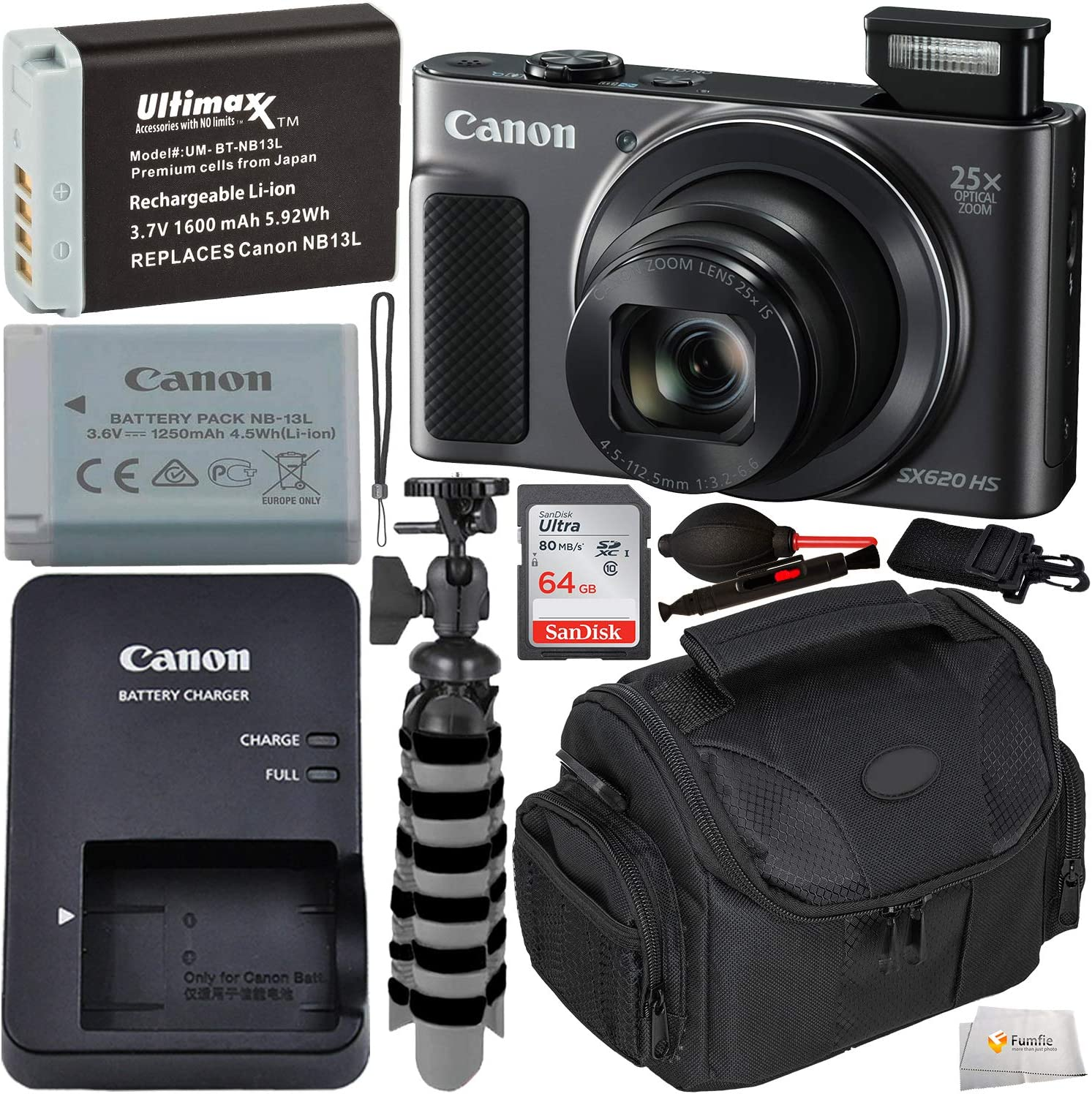 B07Q1DHZ93 Canon PowerShot SX620 HS Digital Camera (Black) with Starter Accessory Bundle - Includes: Spare Extended Life Battery, SanDisk 64GB SDXC Memory Card, Carrying Case, Flexible Gripster Tripod & More 81c5d7Sos-L.SL1500_