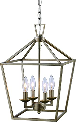 Trans Globe Imports 10264 ASL Transitional Four Light Pendant from Lacey Collection in Pwt, Nckl, B S, Slvr. Finish, 12.00 inches, 12 , Antique Silver Leaf