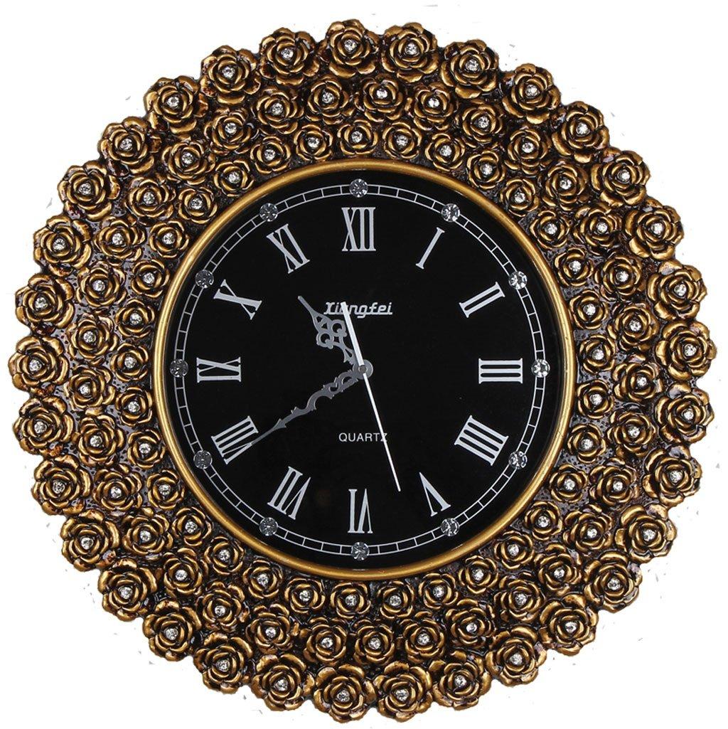 ウォールクロック樹脂ホームファッションリビングルームの壁時計クリエイティブな農村のバラ時計ポケット時計ヨーロッパスタイルのクォーツ時計ホール (Color : Gold) B07CTGG7L2 Gold Gold