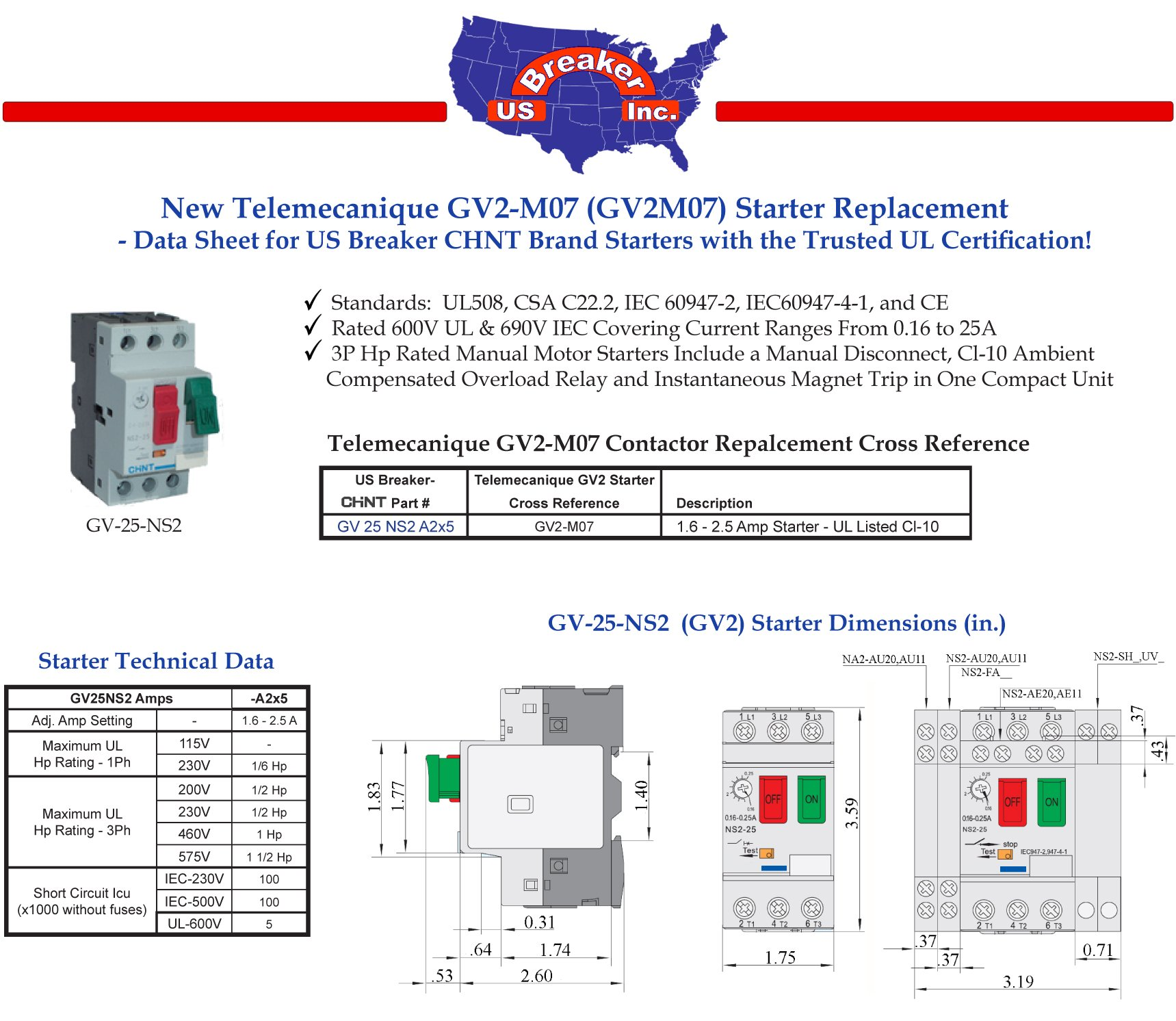 GV2-M07 Telemecanique GV2M07 Motor Starter - New Direct Replacement - UL Certified!